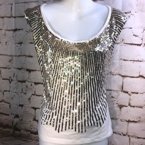 Alice & Olivia Sleeve Shirt Gold & Silver Sequins